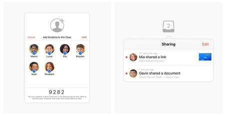 Aula muestra una clase creada a la que unirse (izquierda) o un diálogo para compartir con los alumnos un contenido (derecha)