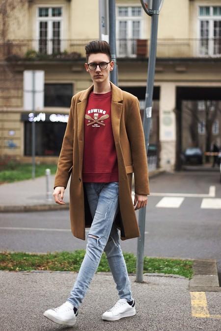 Combinacion Look Abrigo Camel Jeans Vaqueros Tendencia Trendencias Hombre Otono Invierno 2018 03