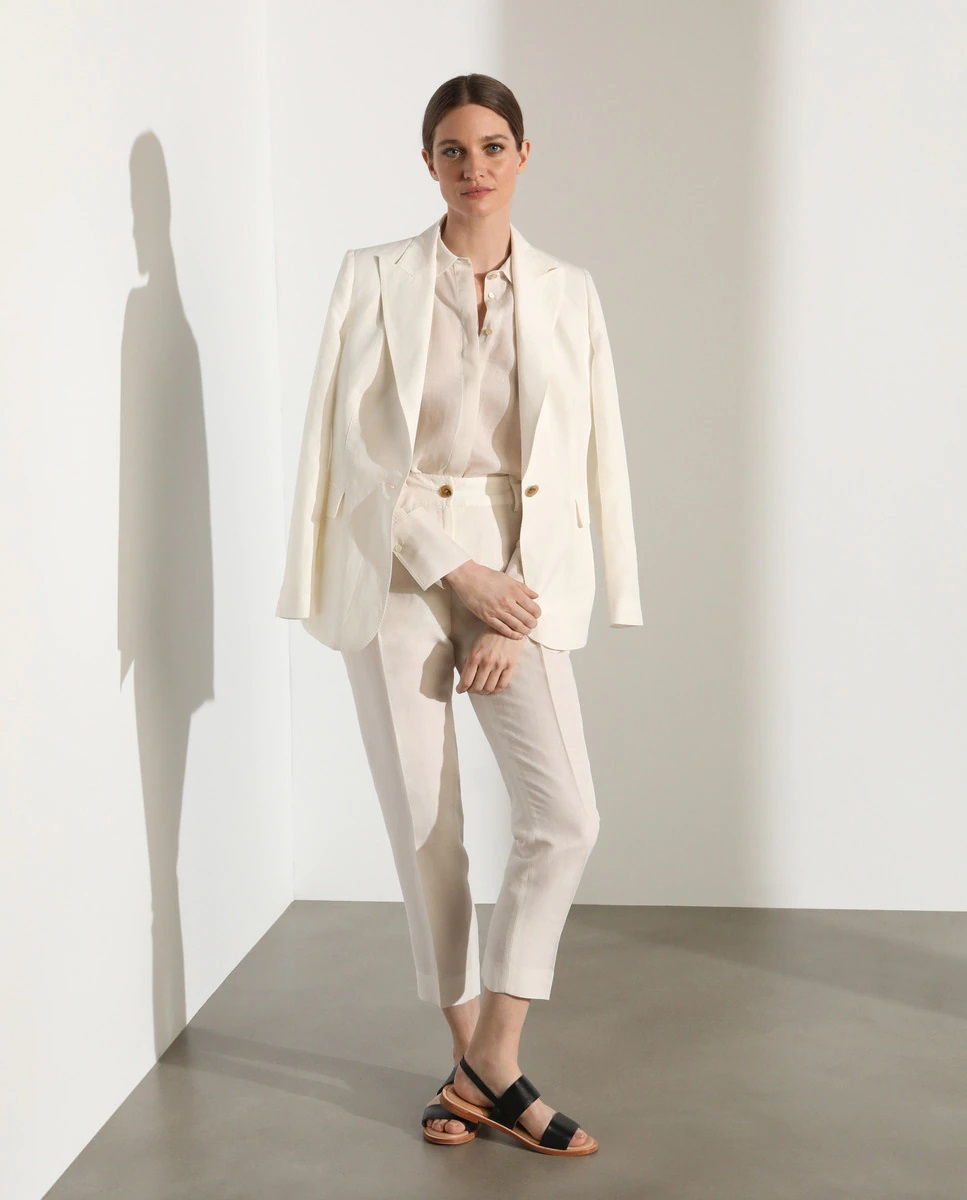 Pantalón de traje de efecto lino blanco