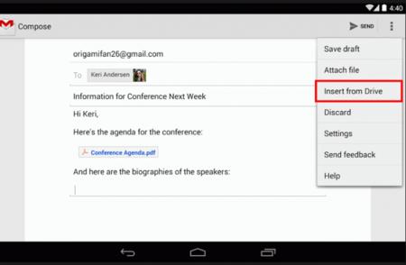 Llega actualización de Gmail con intercambios de archivos en Google Drive