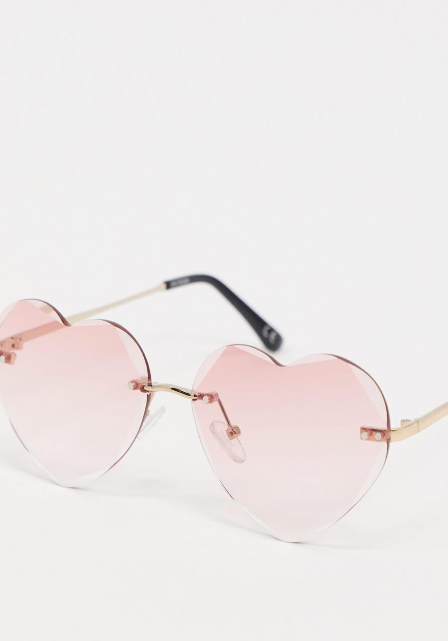 Gafas de sol rosas con montura al aire y diseño biselado de corazones de ASOS DESIGN