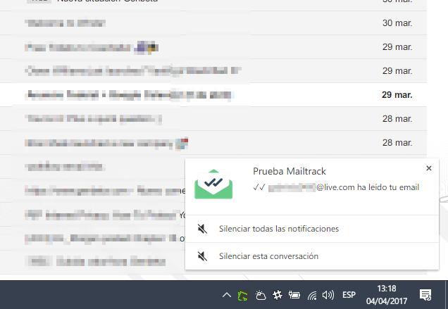 Cómo recibir notificaciones instantáneas cuando tus correos enviados desde Inbox o Gmail hayan sido leídos