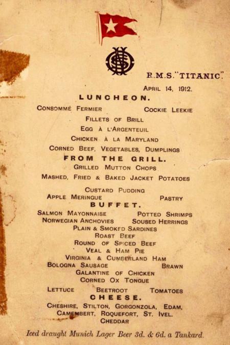 Menus Titanic 2