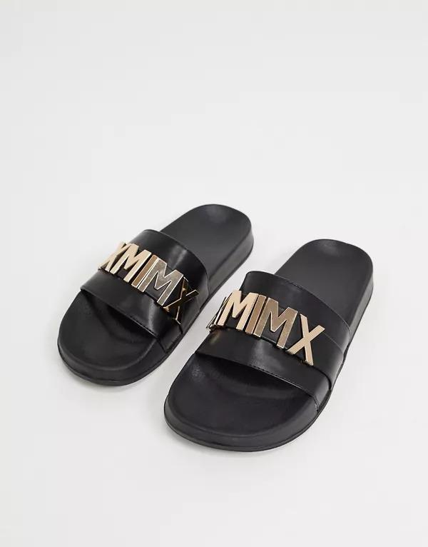 Sandalias negras con detalle dorado de ASOS DESIGN