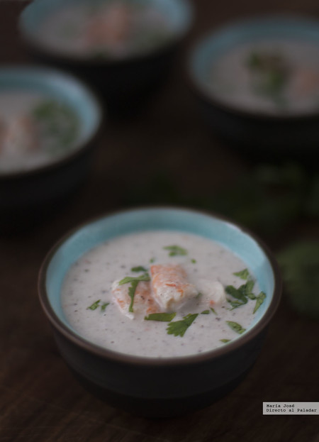 Crema thai de langostinos y coco. Receta exótica con y sin Thermomix