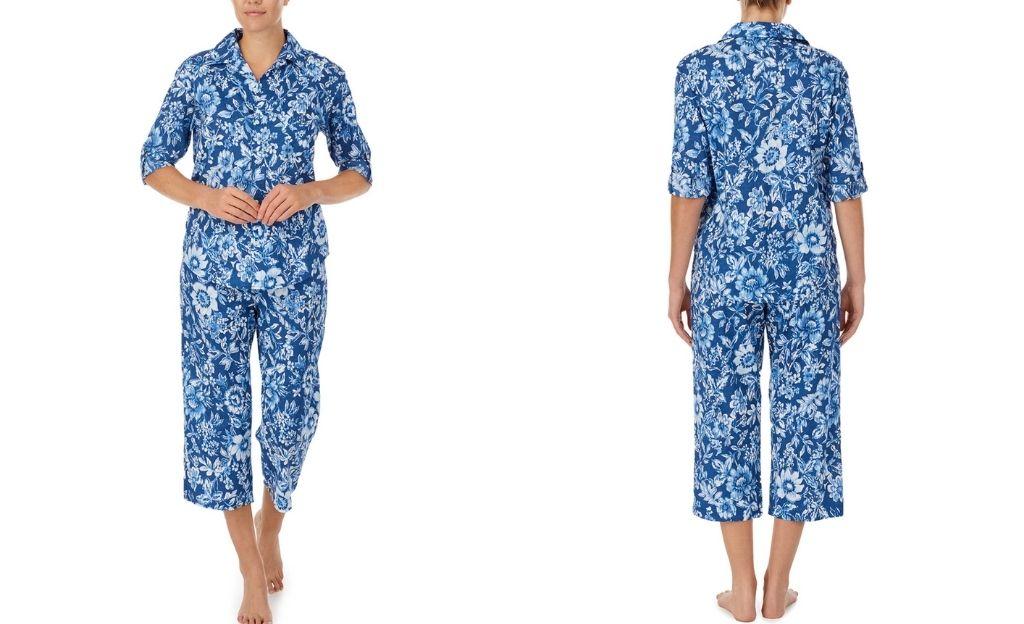 Pijama de mujer de tela con pantalón largo