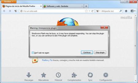 Firefox ofrecerá un mecanismo para que el usuario detenga plugins que no funcionan