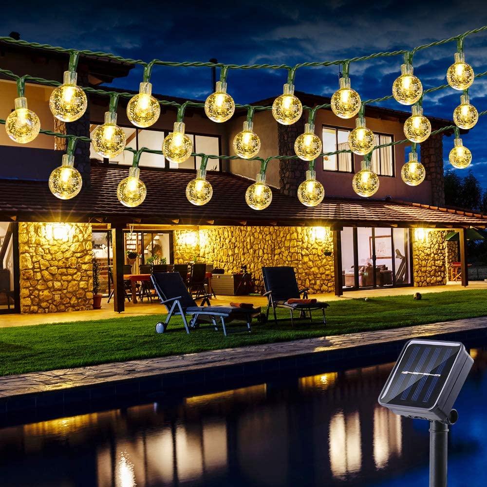 Guirnalda Luces Exterior Solares, BrizLabs 6.5M 30 LED Cadena de Luces Impermeable 8 Modos De Iluminación para Interiores y Exteriores Jardín, Navidad, Terraza, Patio, Fiestas (Blanco Calido) [Clase de eficiencia energética A+++]