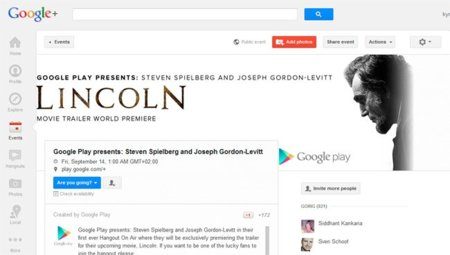 El esperado tráiler de 'Lincoln' se estrenará en un Hangout de Google+ que se retransmitirá en Times Square
