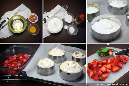 Merengue con fresas - elaboración