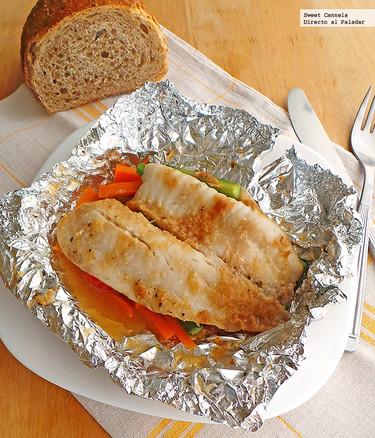 Papillote de pescado con verduras al jengibre. Receta