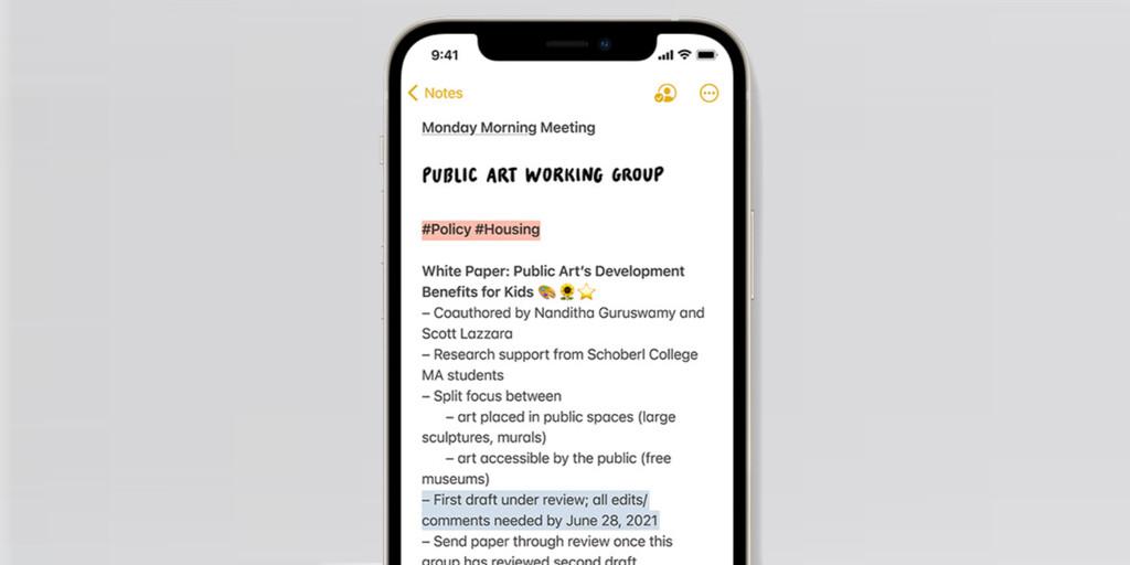 Notas en iOS 15: Etiquetas, carpetas inteligentes, visor de actividad, menciones y mucho más
