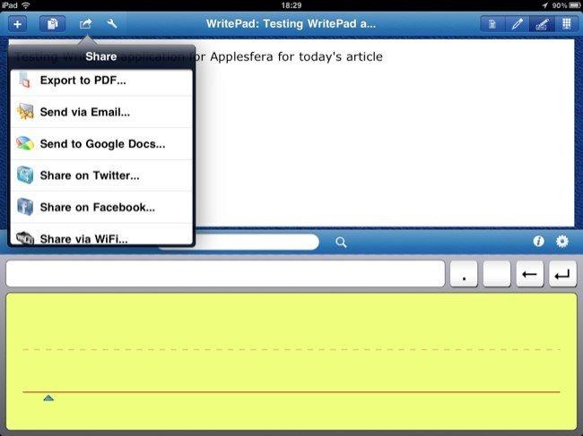 WritePad, opciones para compartir nuestras notas