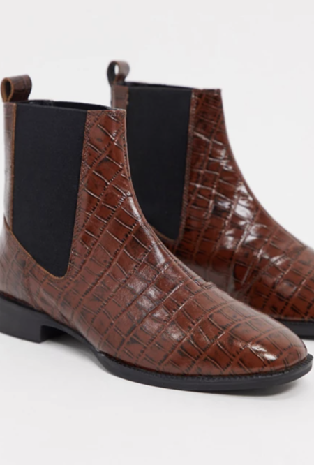 Botines Chelsea de cuero en marrón cocodrilo Alyssa de ASOS DESIGN