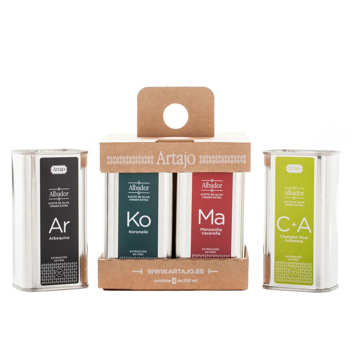 Pack de 4 latas de aceite oliva virgen extra Artajo de diferentes variedades.