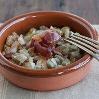 Receta de habitas frescas con jamón, un clásico de la gastronomía española