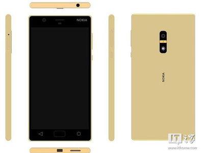 El Nokia D1C con Android se deja ver en color dorado y luciendo un lector de huellas dactilares