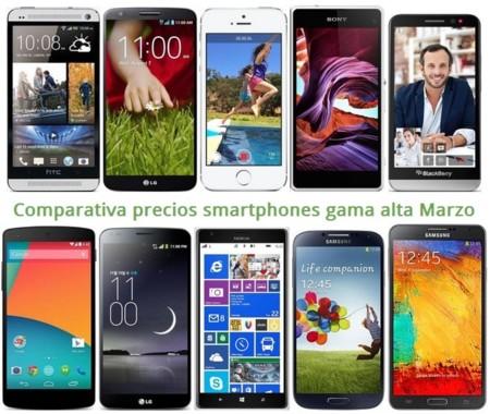 Comparativa Precios Lumia 1520, LG G Flex, iPhone 5s, Galaxy Note 3, Xperia Z1, HTC One, LG G2 y otros gama alta en Marzo