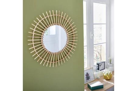 Espejo Redondo Bamboo Natural Natural Inspire