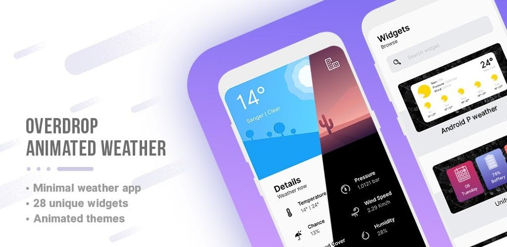 Overdrop for Android, an application of the time inspired by Xiaomi MIUI Weather