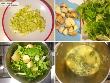 Preparacion Sopa De Lechuga Con Coco