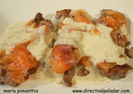 Receta de solomo de ternera con salmón ahumado en salsa de cabrales