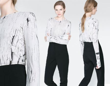 Zara clon camiseta craquelada Balenciaga Otono Invierno 2013 2014