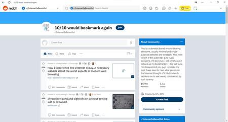 Captura de pantalla de la aplicación oficial de Reddit para Windows