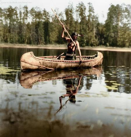 An Ojibwe Native American Spearfishing, Minnesota, 1908