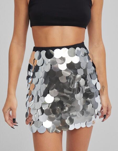 Bershka Minifalda Plata 01