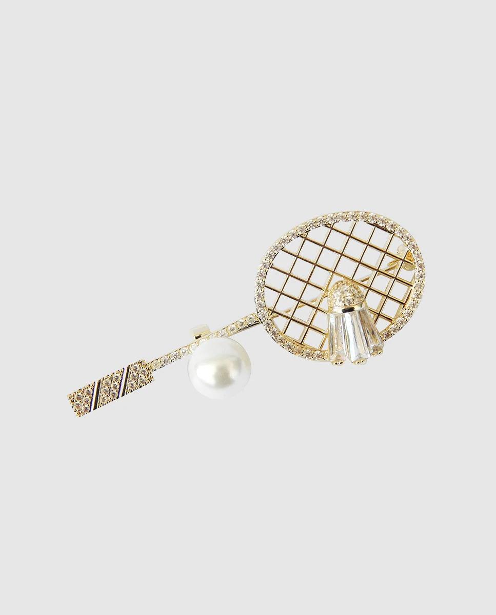 Broche Raqueta dorada con perla y circonitas