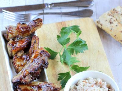 Receta de chuletas de cordero en dos cocciones con salsa Hoisin