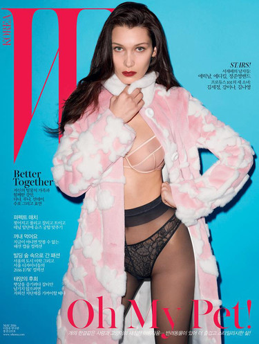 La portada subidita de tono de Bella Hadid x Terry Richardson para W Corea