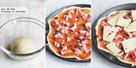 Pizza de criollo, bacon y pimiento. Receta paso a paso