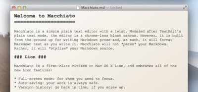 Macchiato, un nuevo editor de Markdown para OS X Lion