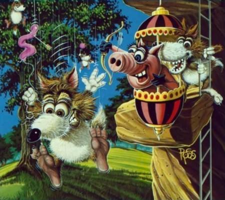 Retroanálisis de Pooyan, la versión alternativa (con globos) de los tres cerditos y el lobo feroz