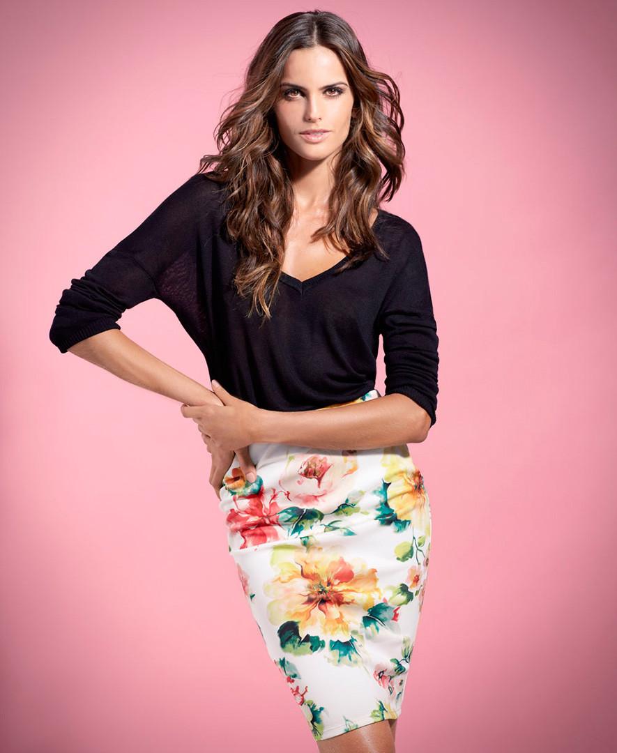 Falda ajustada floral SuiteBlanco Primavera –Verano 2014