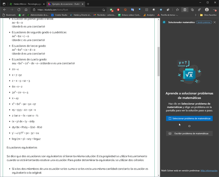 Microsoft Edge Nuevo Solucionador Ecuaciones
