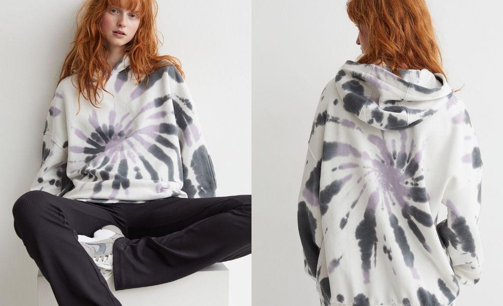 Sudadera con capucha y motivo tie dye