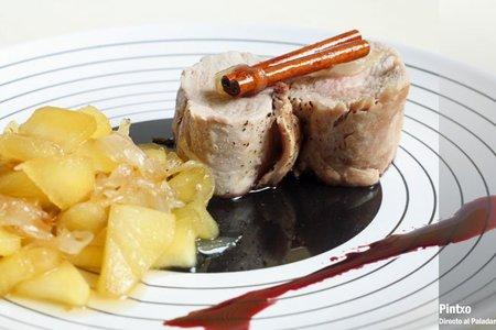 Solomillo de cerdo asado con manzana caramelizada. Receta