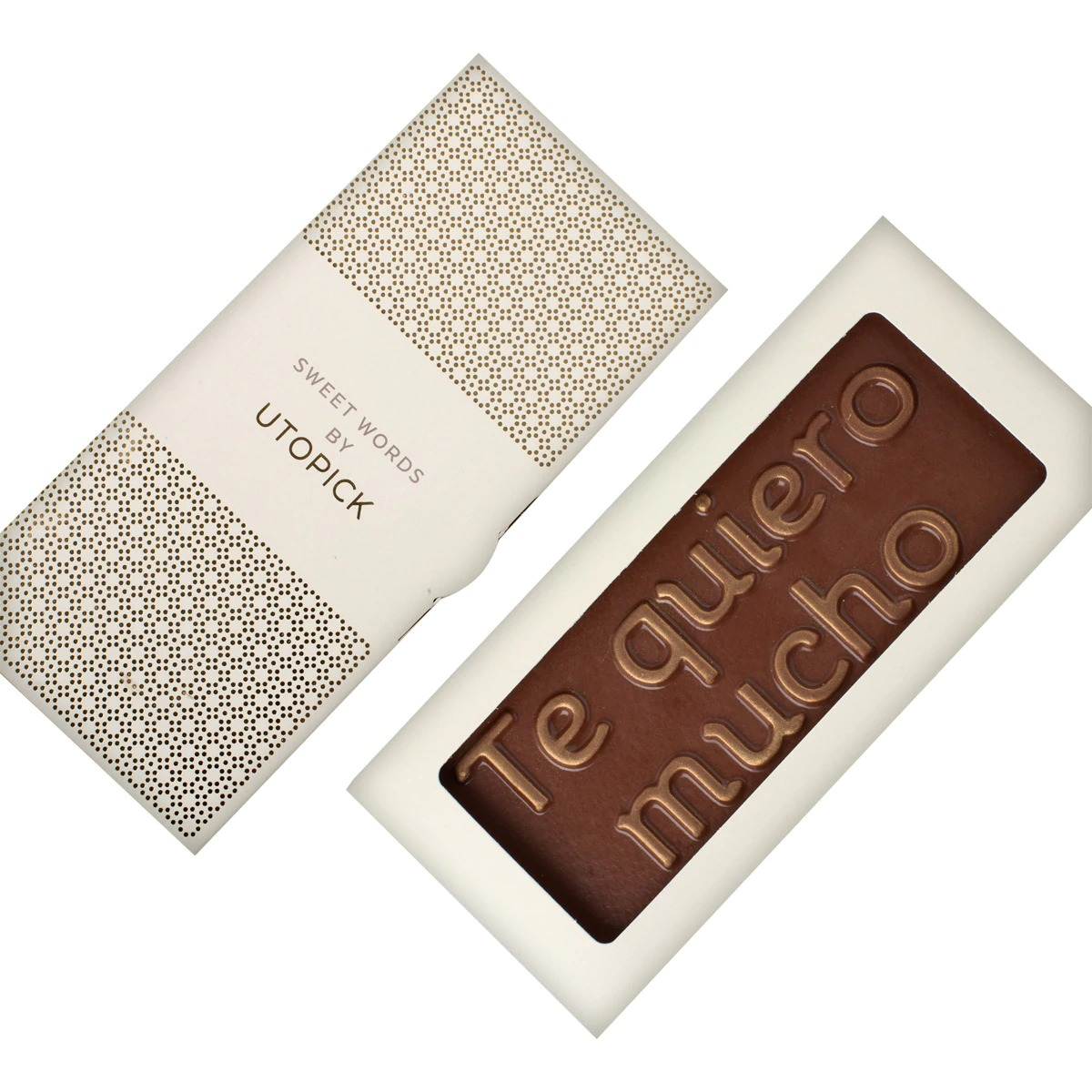 "Tableta de chocolate con leche Sweet Words ""Te Quiero Mucho"" Utopick"
