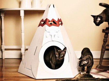 Un tipi de cartón para un gato con ínfulas de sioux