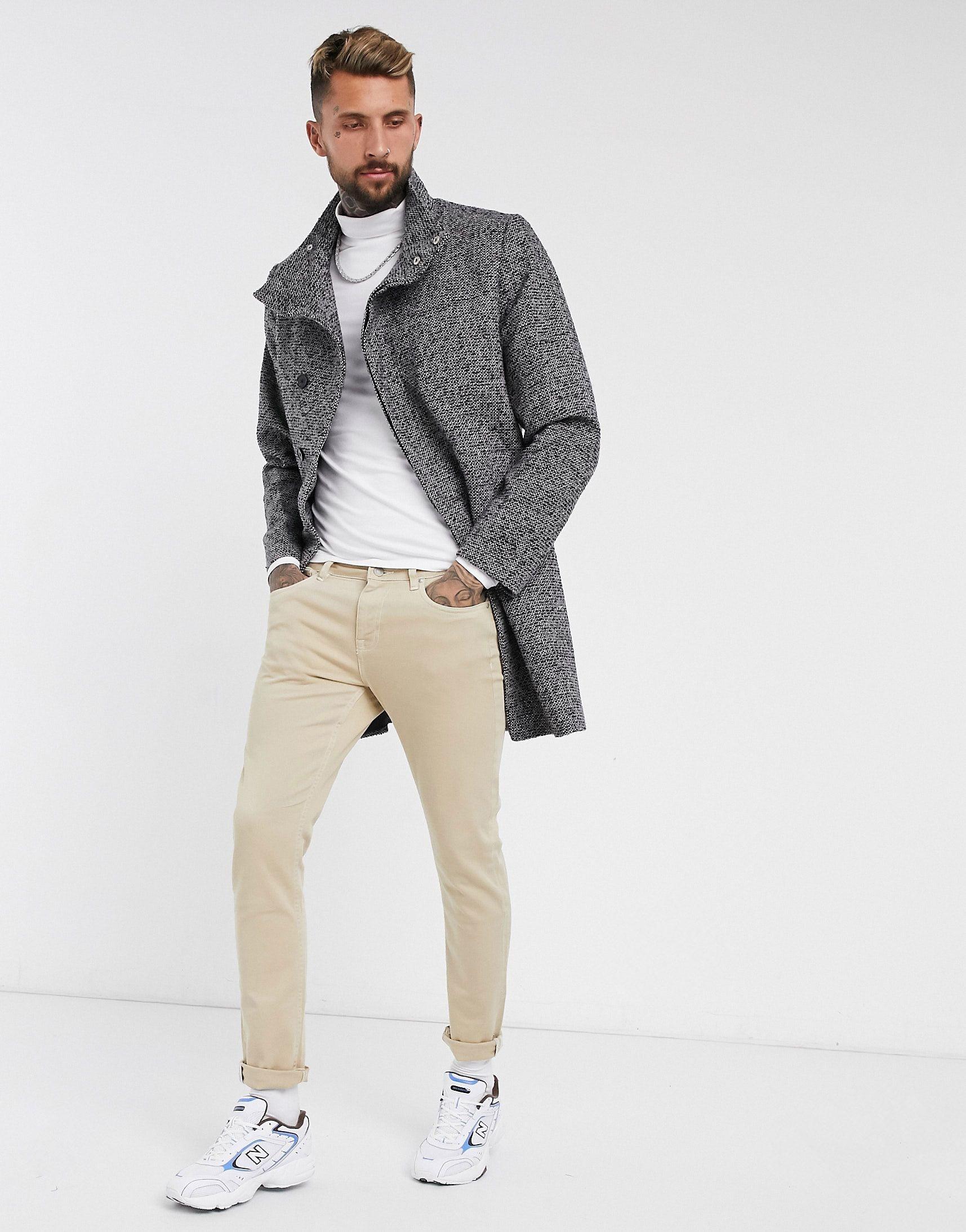 Abrigo color sal y pimienta de mezcla de lana con cuello alzado de ASOS DESIGN