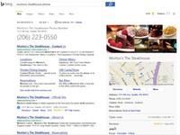 Bing ahora ofrece números de teléfono, horarios y rutas hacia locales comerciales y restaurantes