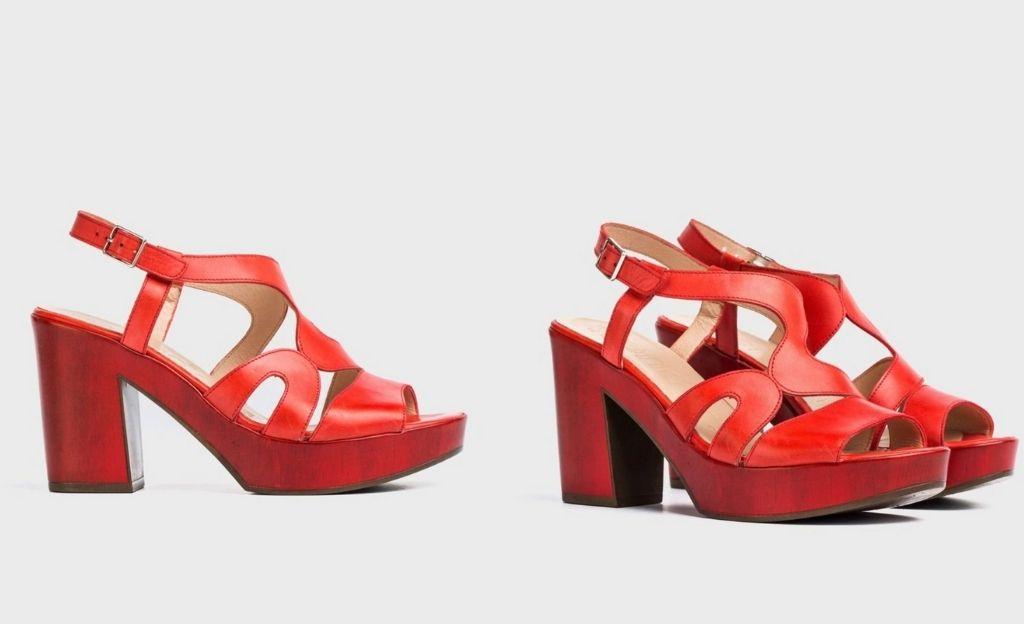 Sandalias de tacón de mujer Wonders de piel color rojo
