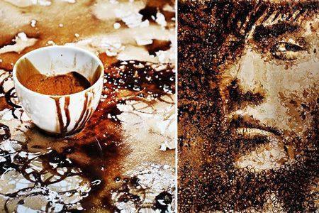 Arte con manchas de café
