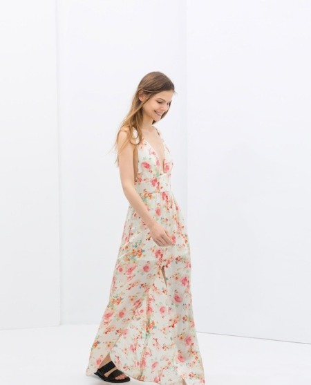 vestido largo flores zara