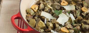 Alcachofas rehogadas con queso. Receta
