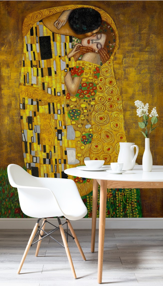 Gustav Klimt The Kiss Murals Wallpaper