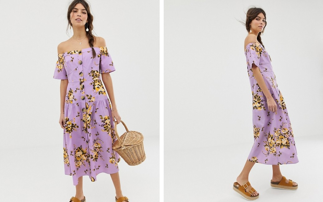 Vestido midi abotonado con escote bardot y estampado floral